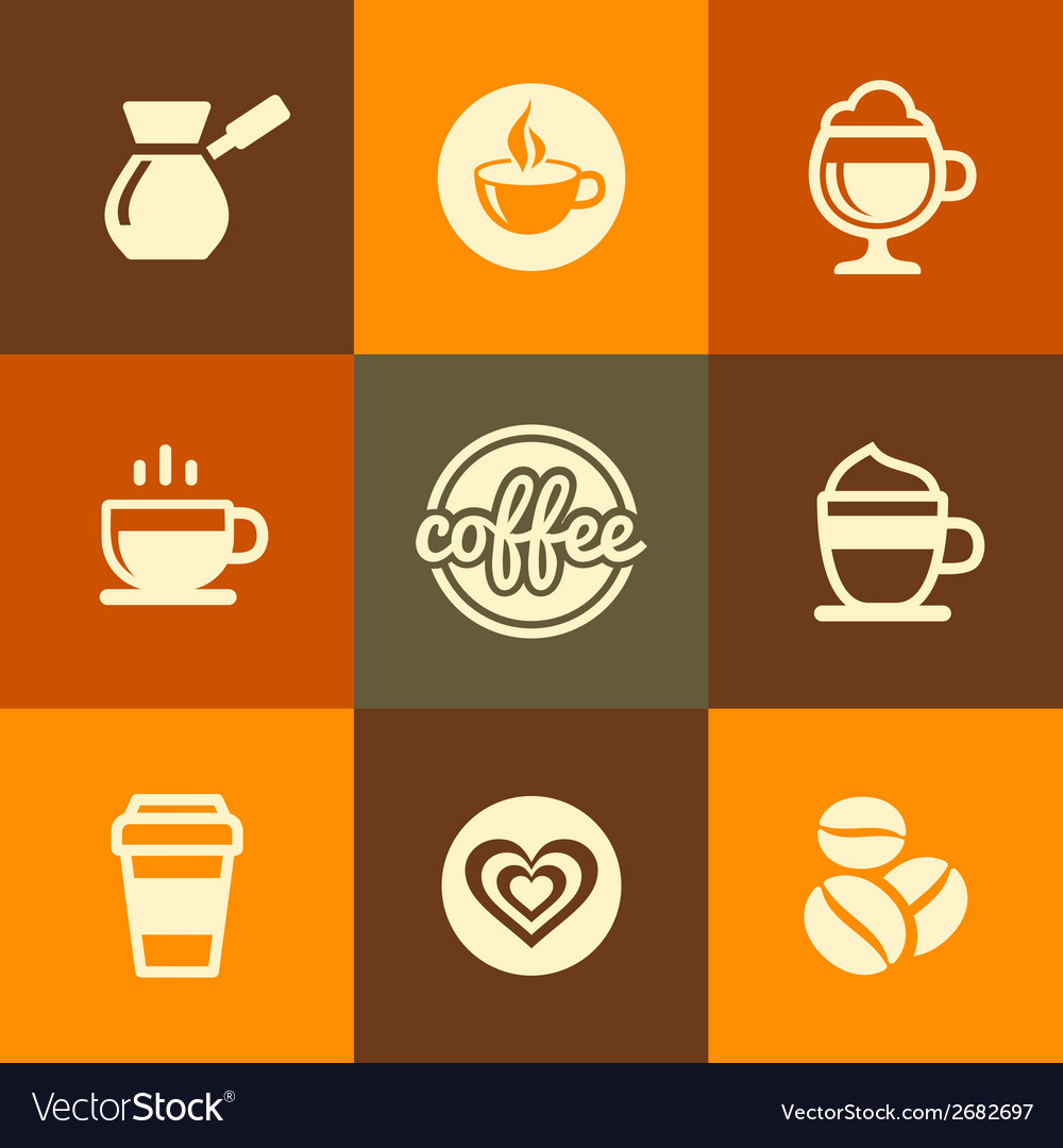 Coffee icons set in flat design color style vector | Price: 1 Credit (USD $1)