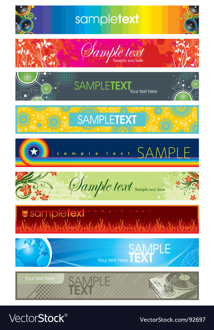 Collection of colorful different banners vector | Price: 1 Credit (USD $1)