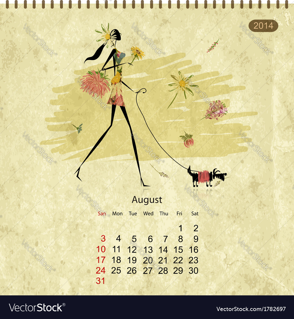 Girls retro calendar 2014 for your design vector | Price: 1 Credit (USD $1)