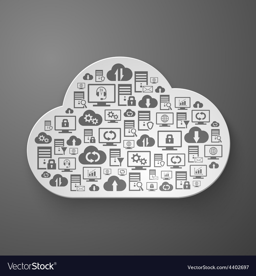 Hosting network and cloud service icons vector | Price: 1 Credit (USD $1)