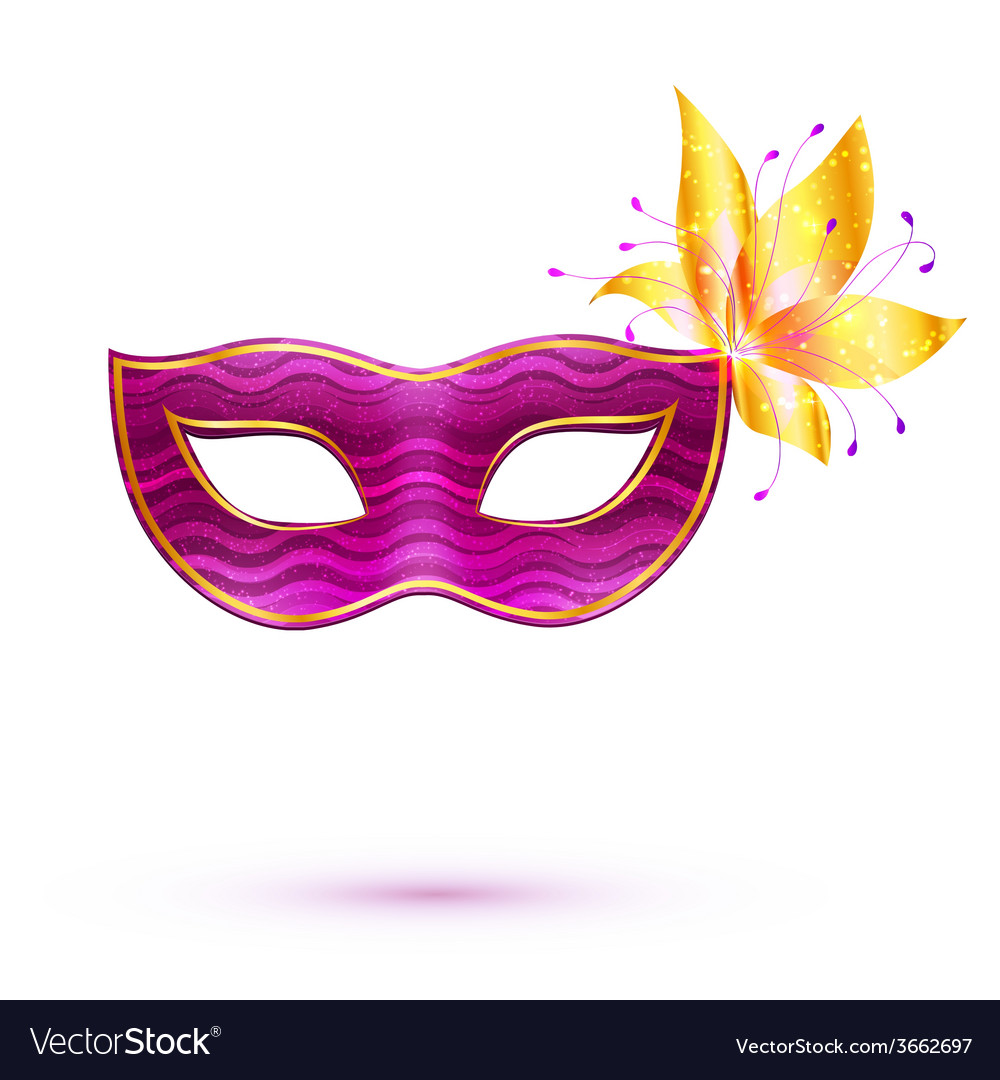 Purple isolated carnival mask with golden flower vector | Price: 1 Credit (USD $1)