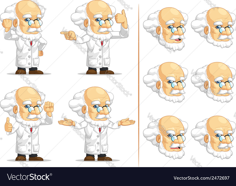 Scientist or professor customizable mascot 12 vector | Price: 1 Credit (USD $1)