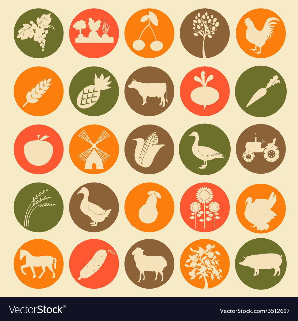 Set agriculture farming icons vector | Price: 1 Credit (USD $1)