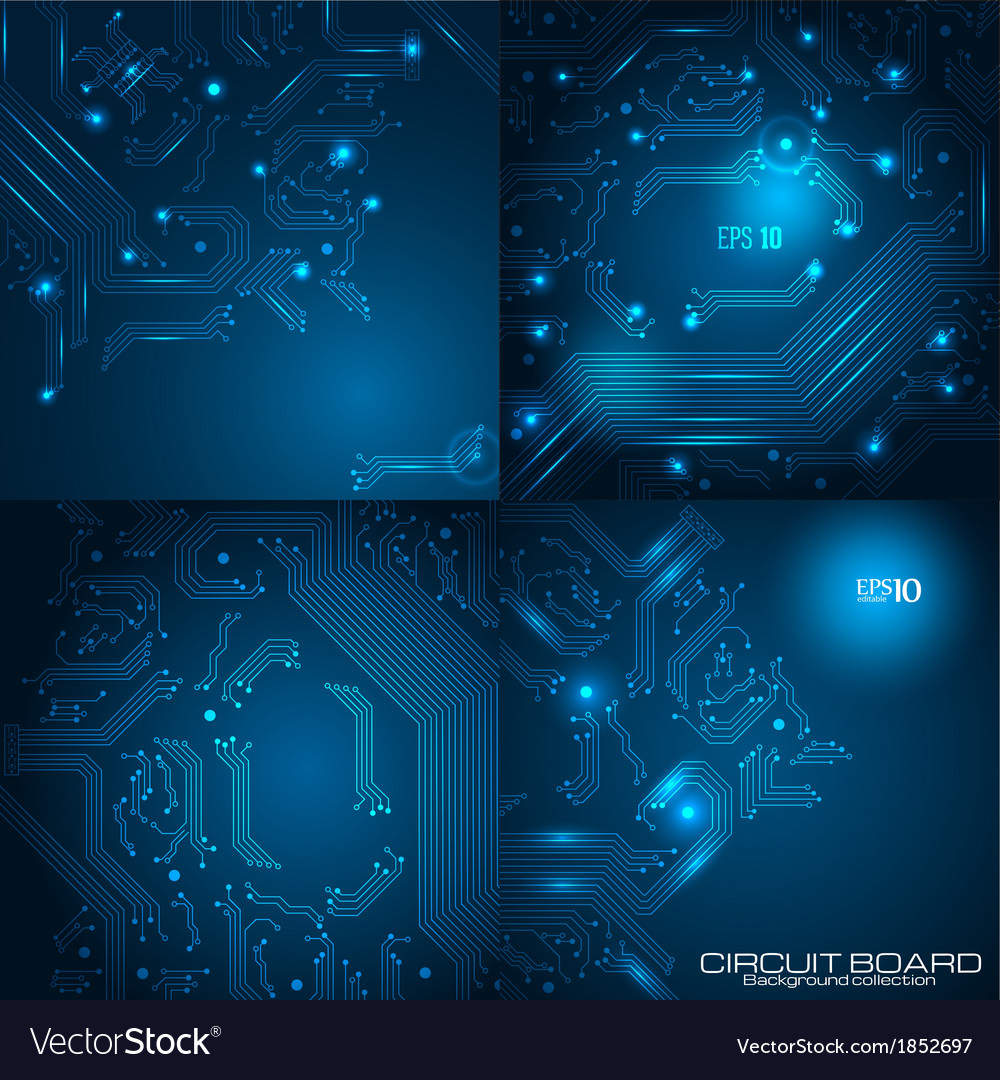Set of technology backgrounds vector | Price: 1 Credit (USD $1)