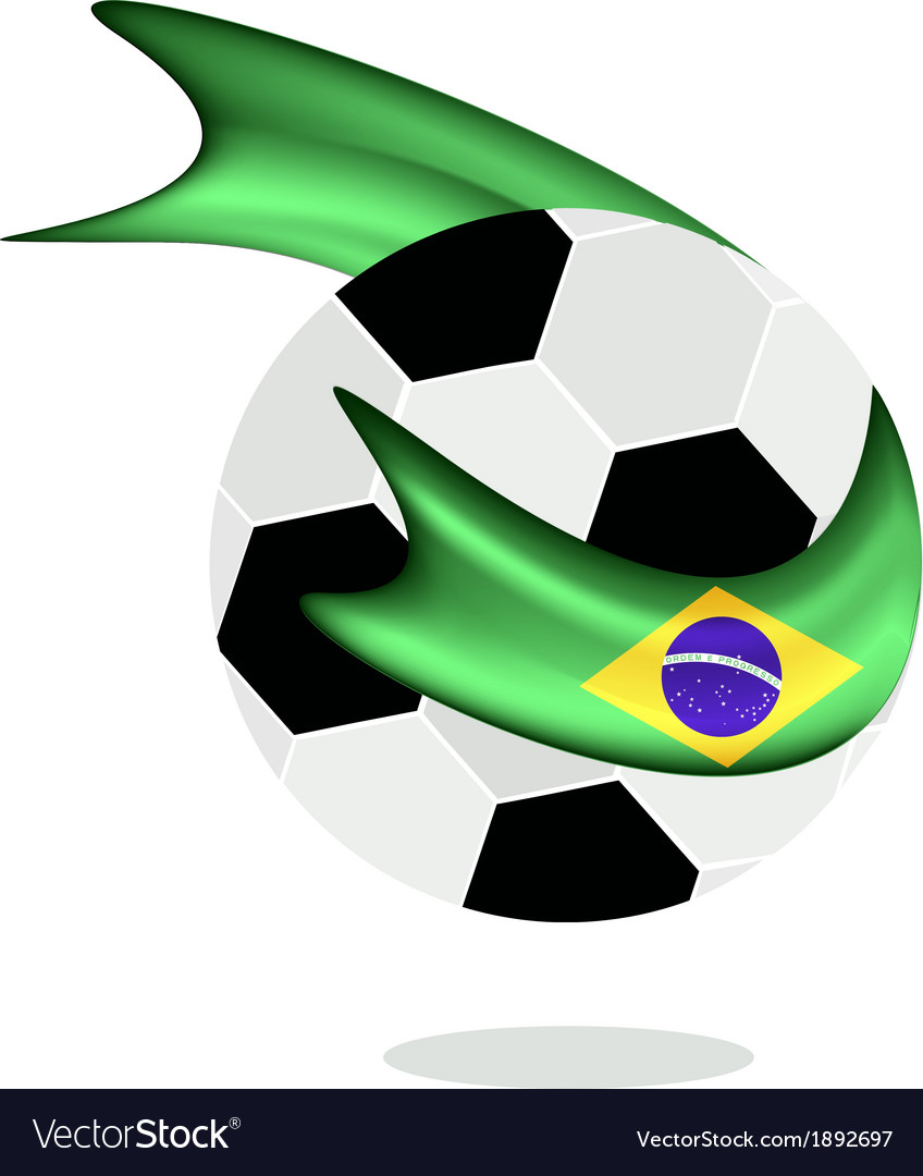 Soccer ball with brazilian flag of brazil 2014 vector | Price: 1 Credit (USD $1)
