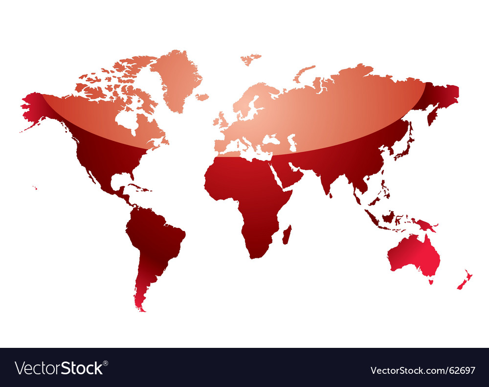 World map reflect red vector | Price: 1 Credit (USD $1)