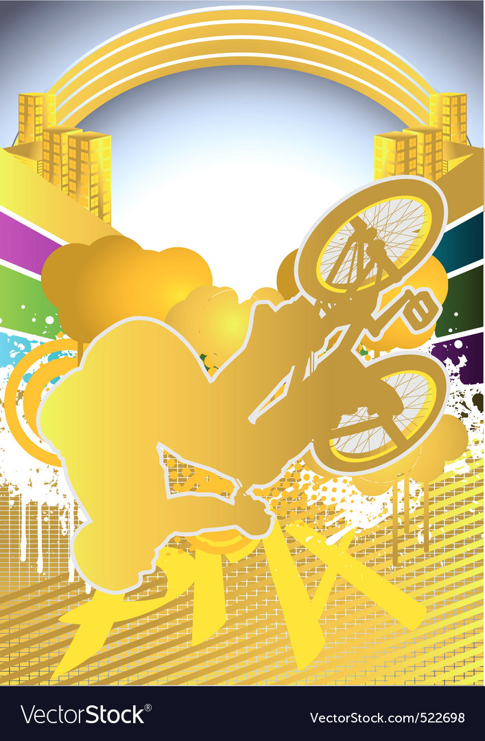 Abstract summer background with bmx cyclist vector | Price: 1 Credit (USD $1)