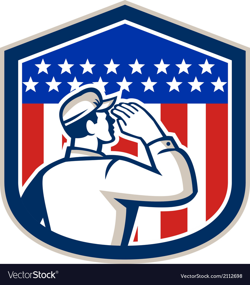 American soldier saluting flag shield vector | Price: 1 Credit (USD $1)