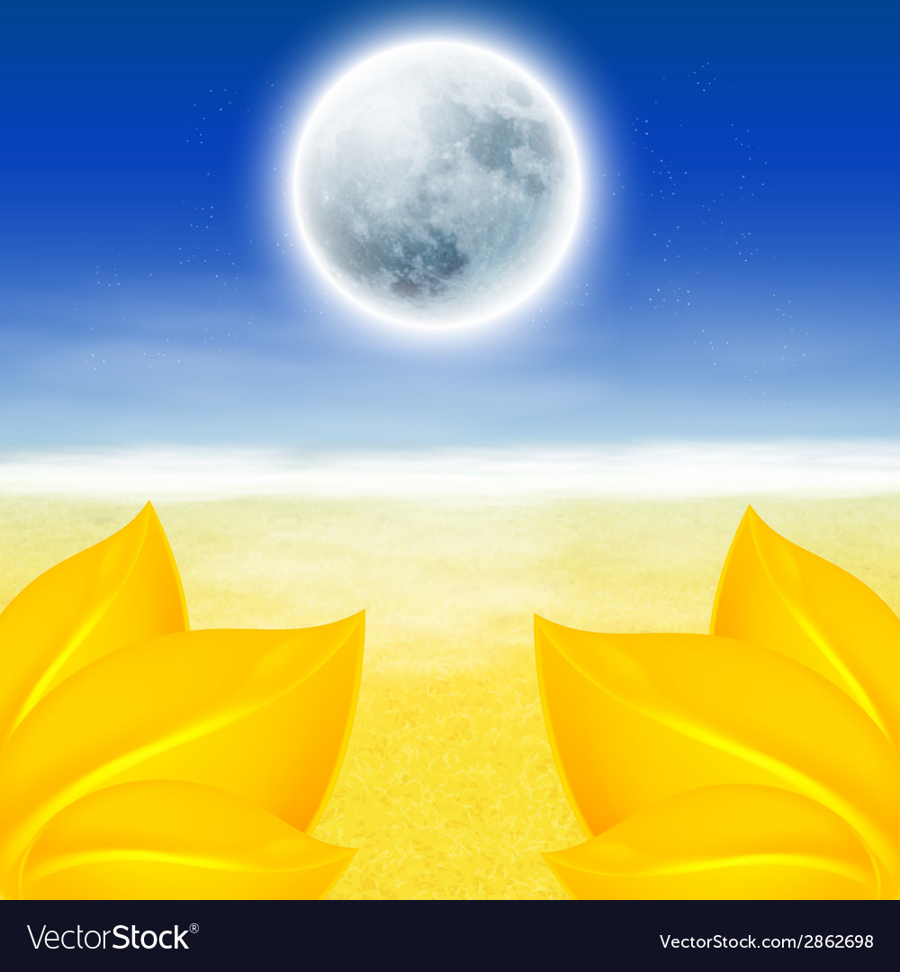 Autumn background with full moon vector | Price: 1 Credit (USD $1)