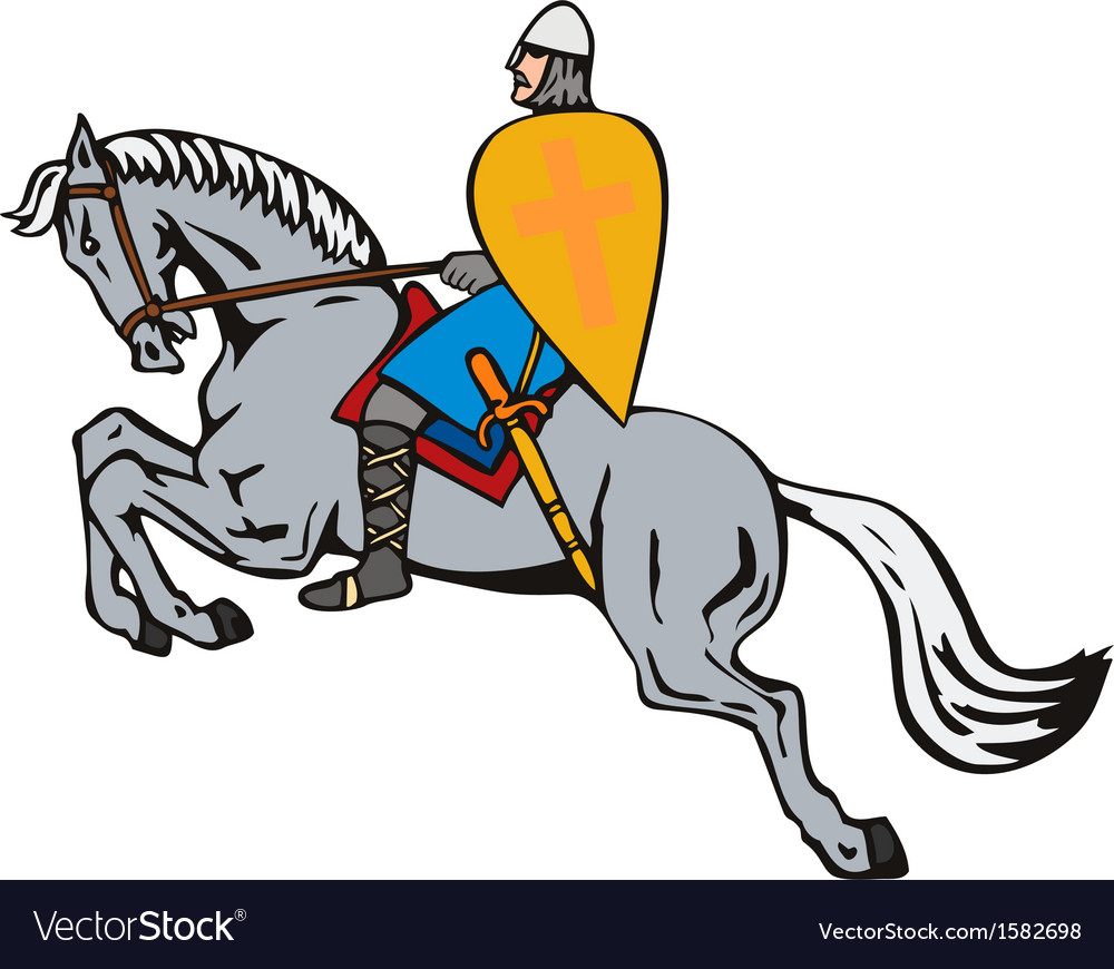 Crusader on horse vector