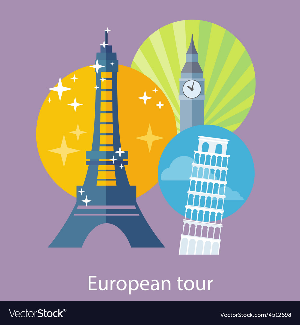 European traveling tour vector | Price: 1 Credit (USD $1)