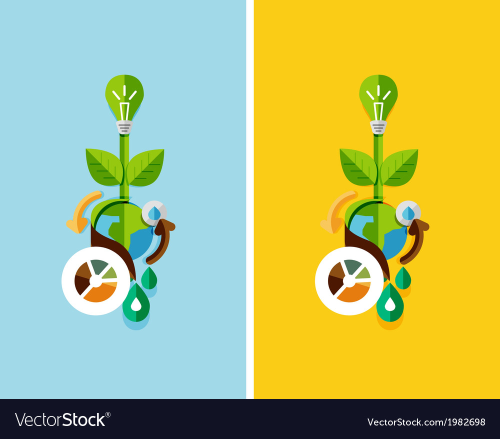 Flat design nature concept green energy vector | Price: 1 Credit (USD $1)