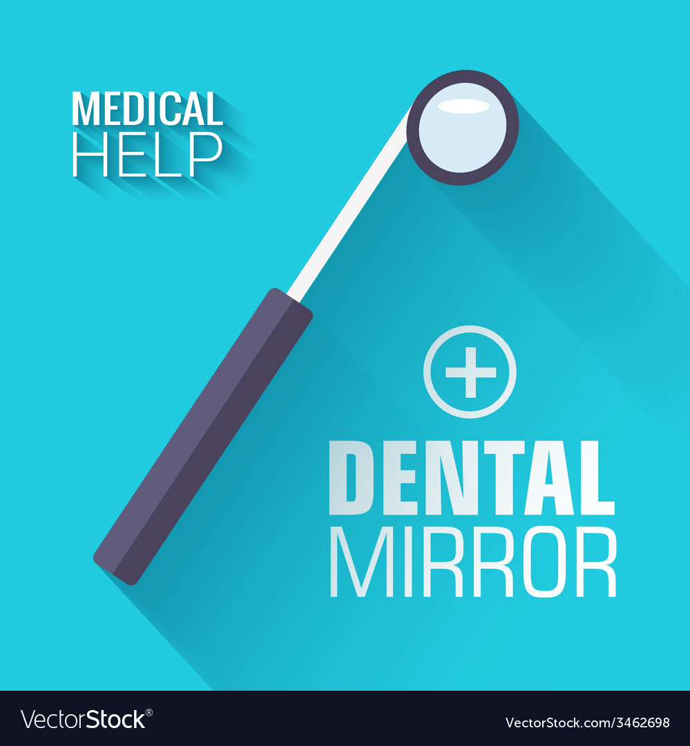 Flat medical dental mirror background conce vector | Price: 1 Credit (USD $1)