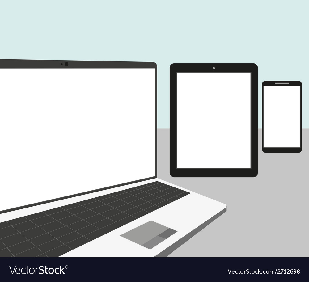 Laptop tablet pc and smartphone vector | Price: 1 Credit (USD $1)