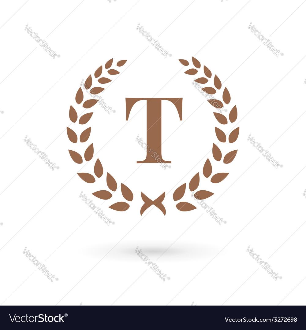 Letter t laurel wreath logo icon design template vector | Price: 1 Credit (USD $1)