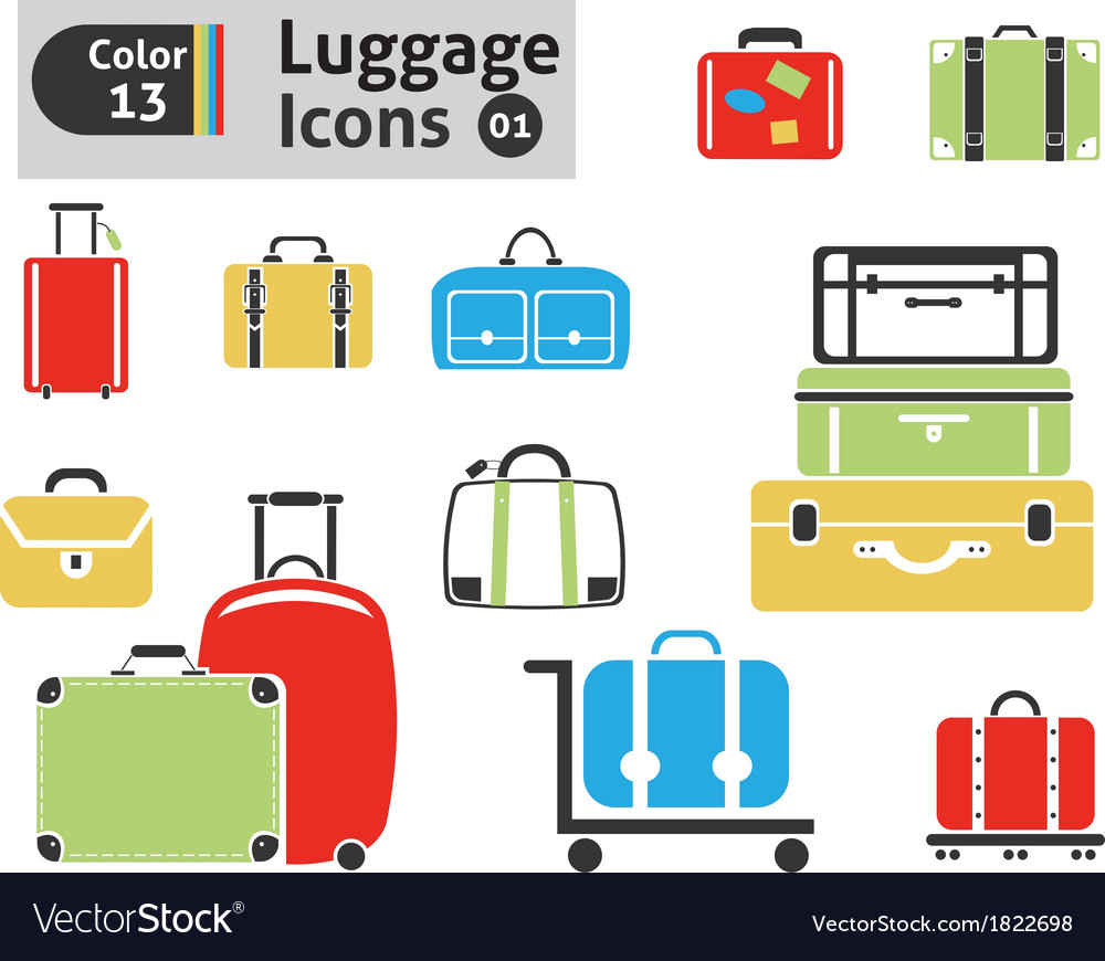 Luggage icons vector | Price: 1 Credit (USD $1)
