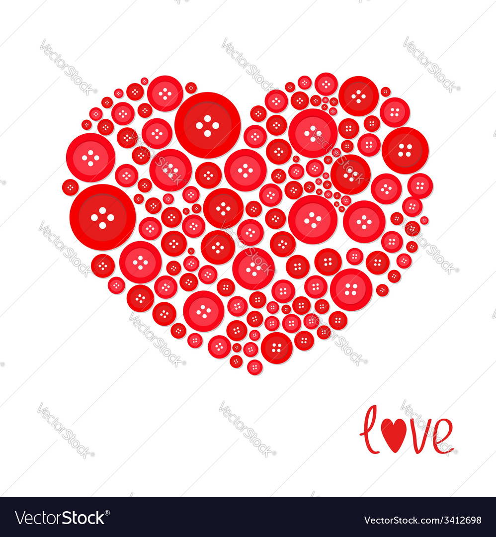 Red heart made from buttons love card flat design vector | Price: 1 Credit (USD $1)