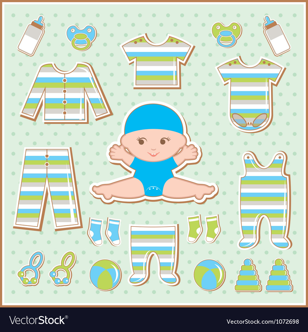Scrapbook elements with baby clothes vector | Price: 1 Credit (USD $1)