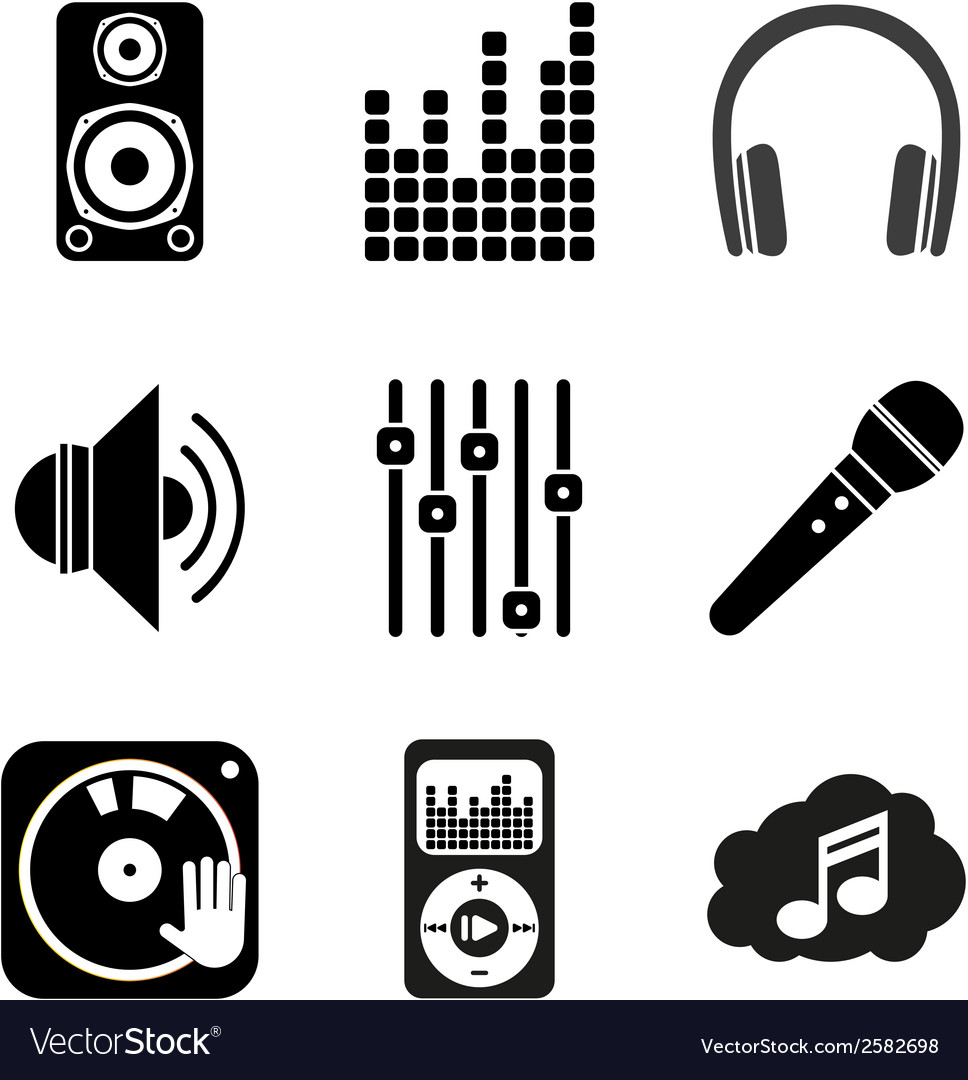 Set of icons of music theme simple black style vector | Price: 1 Credit (USD $1)