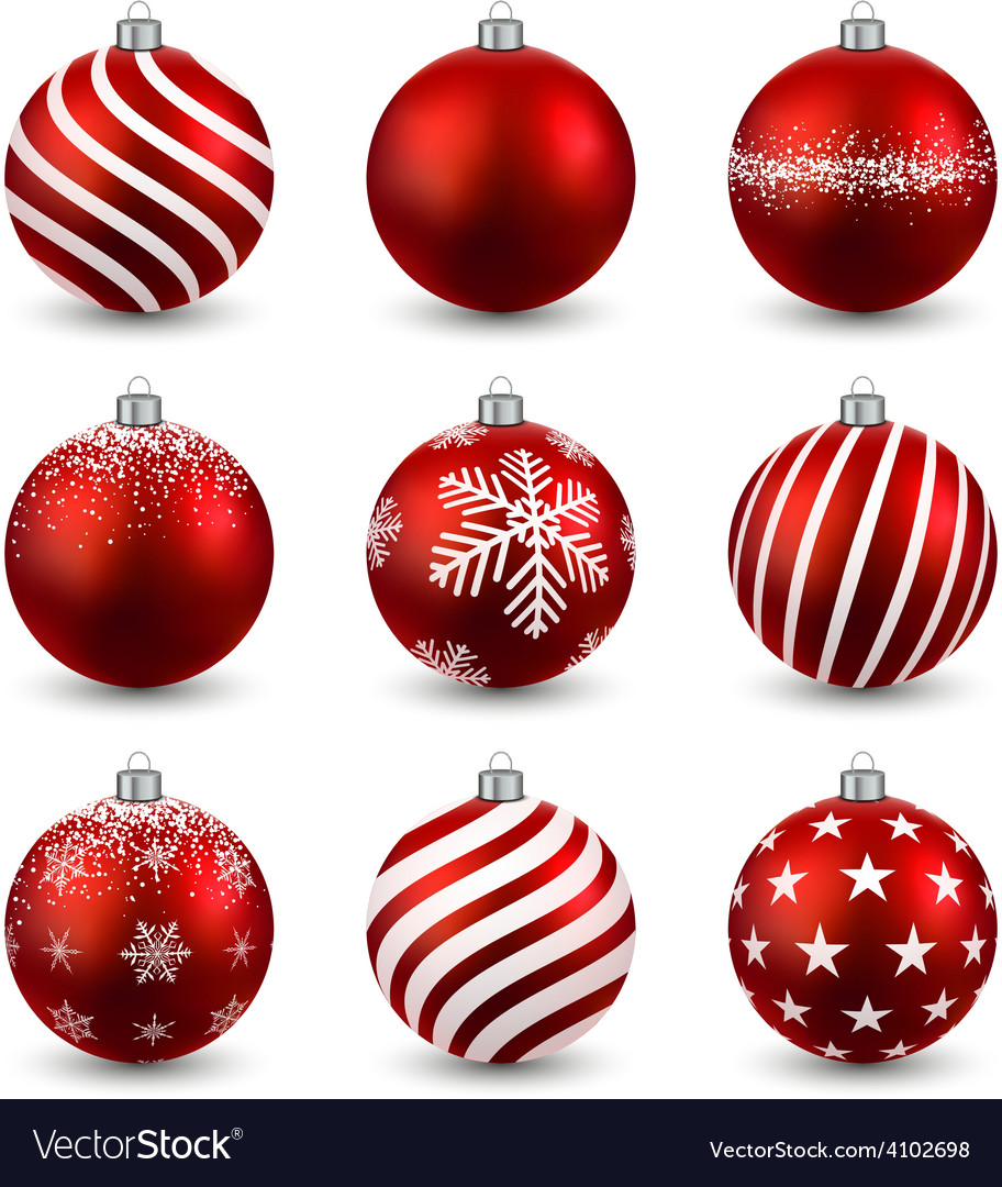 Set of realistic red christmas balls vector | Price: 1 Credit (USD $1)