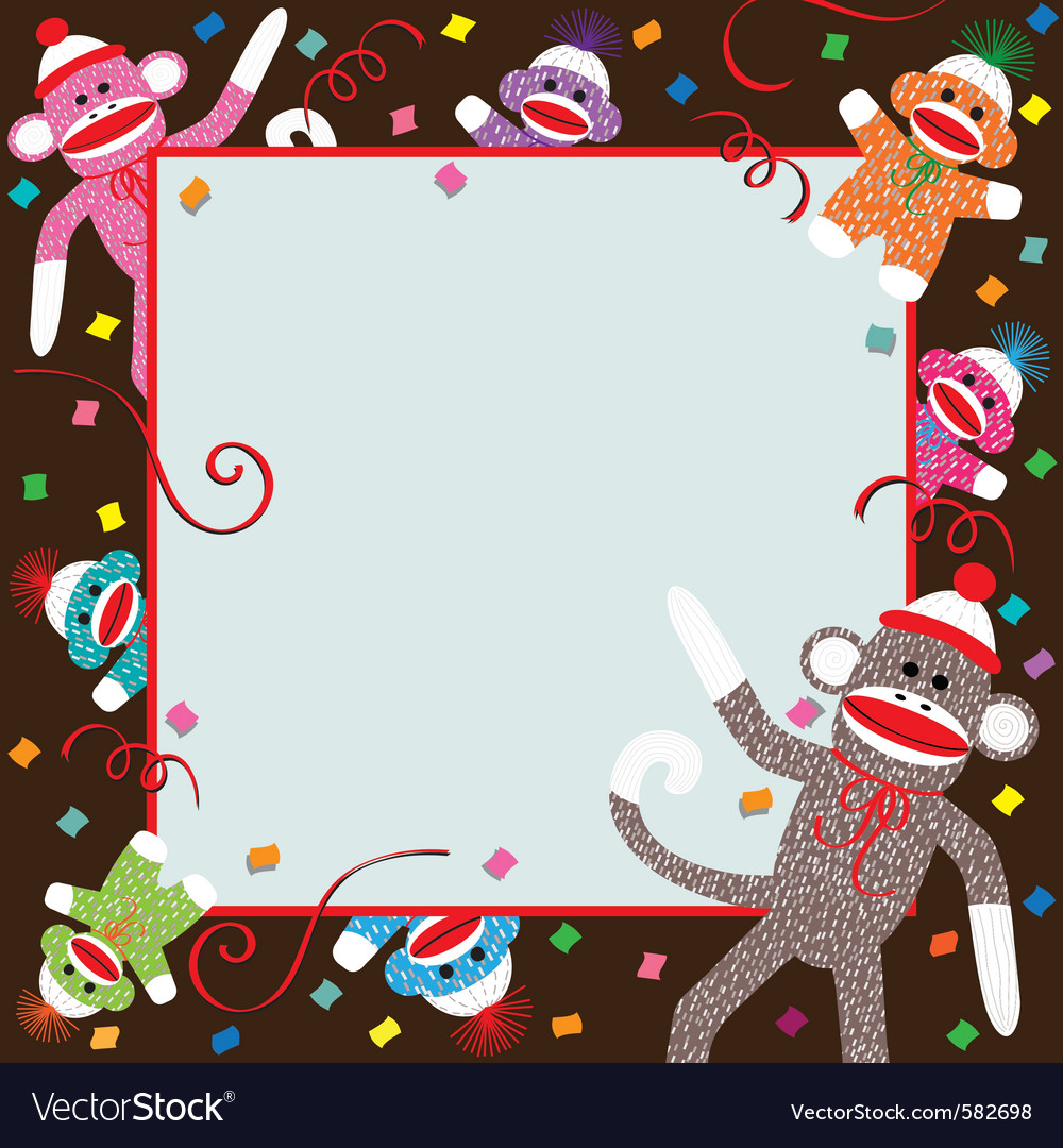 Sock monkey invitation vector | Price: 1 Credit (USD $1)