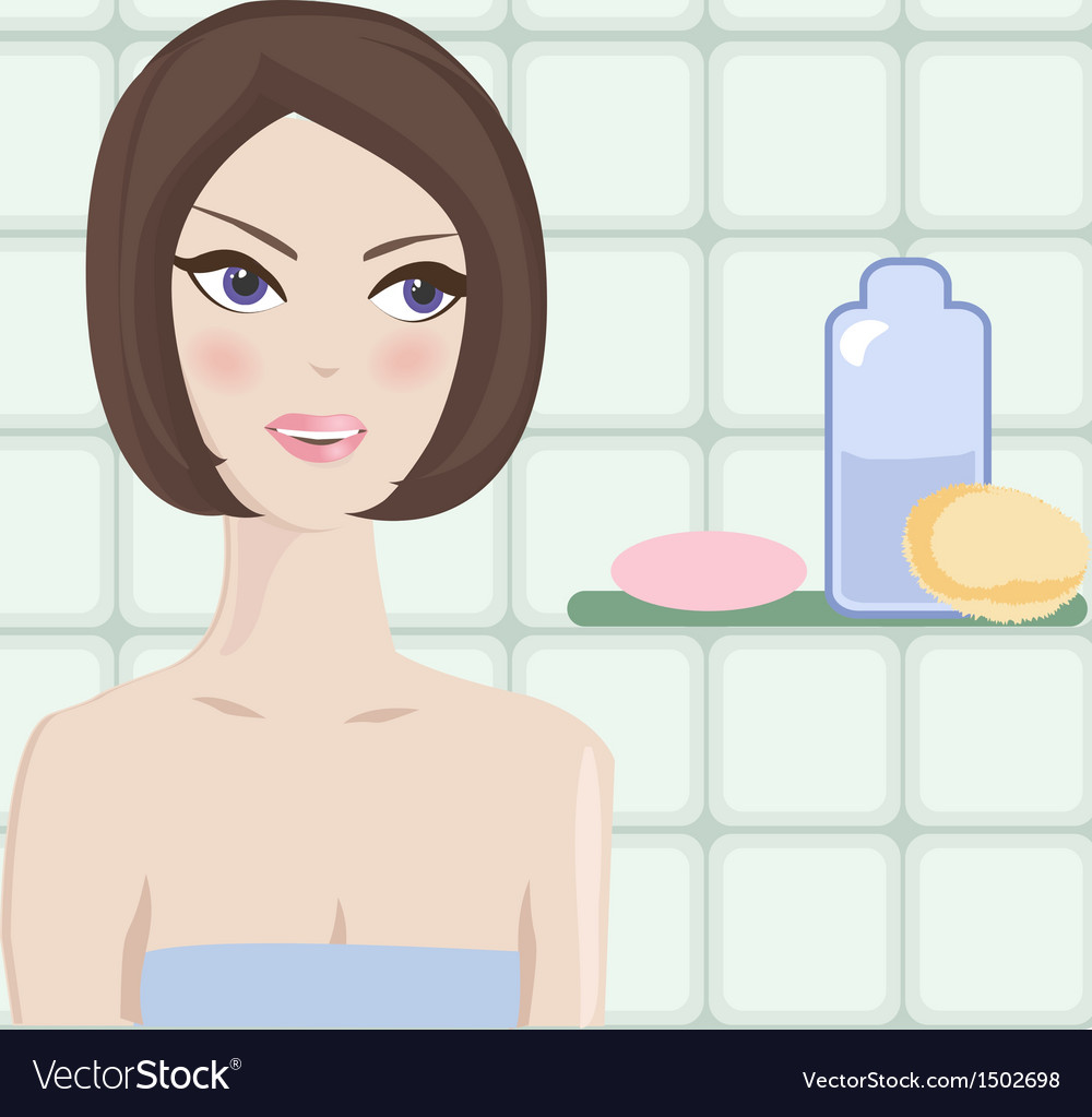 Spa woman beautiful girl after bath touching her vector | Price: 1 Credit (USD $1)