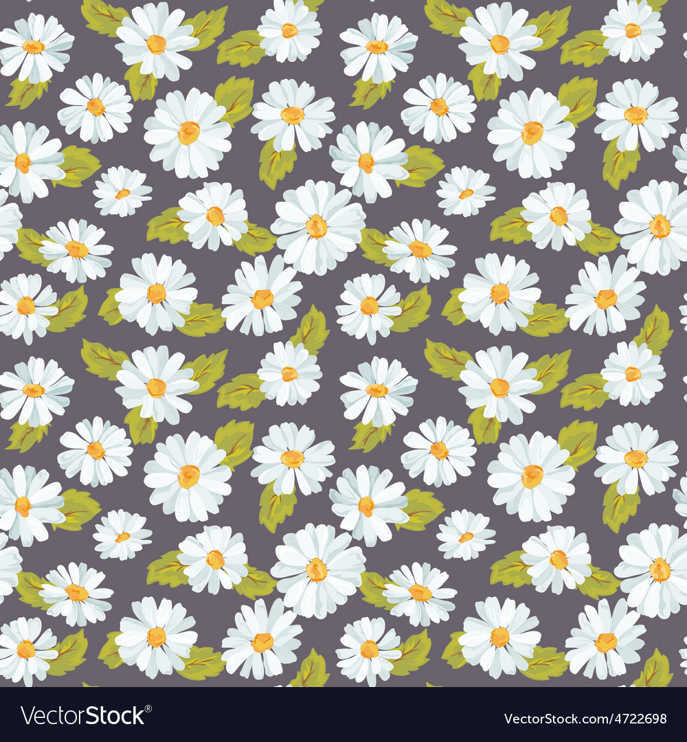 Vintage floral daisy background - seamless pattern vector | Price: 1 Credit (USD $1)