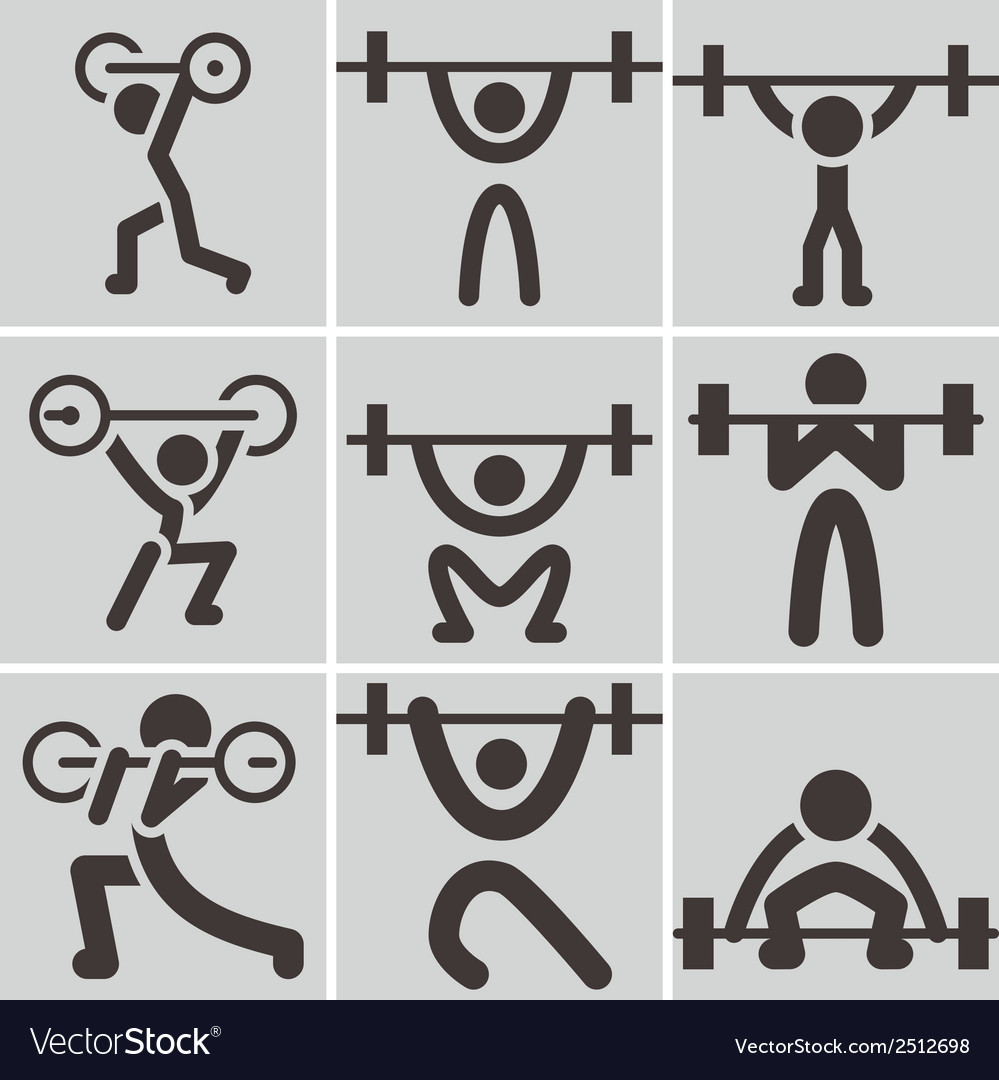 Weightlifting icons vector | Price: 1 Credit (USD $1)