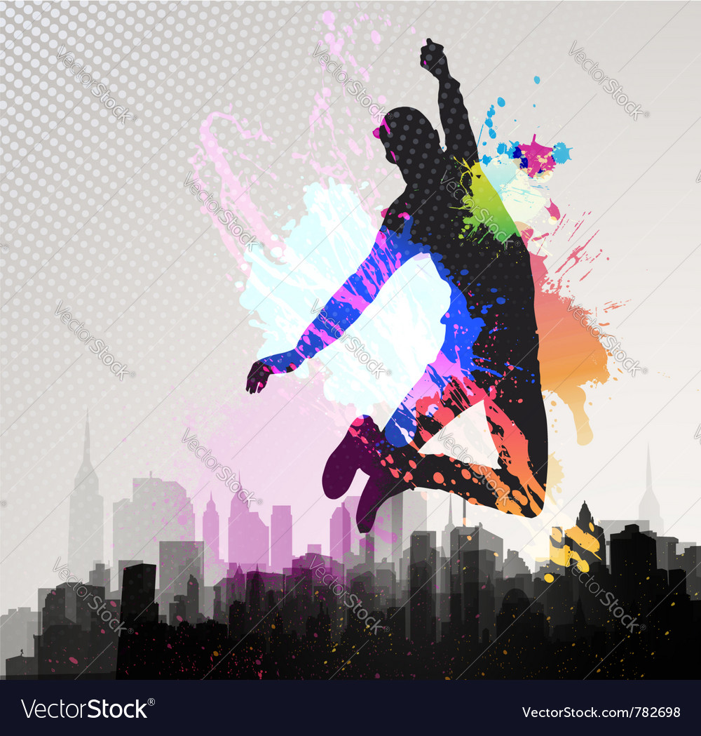 Young man jumping over city vector