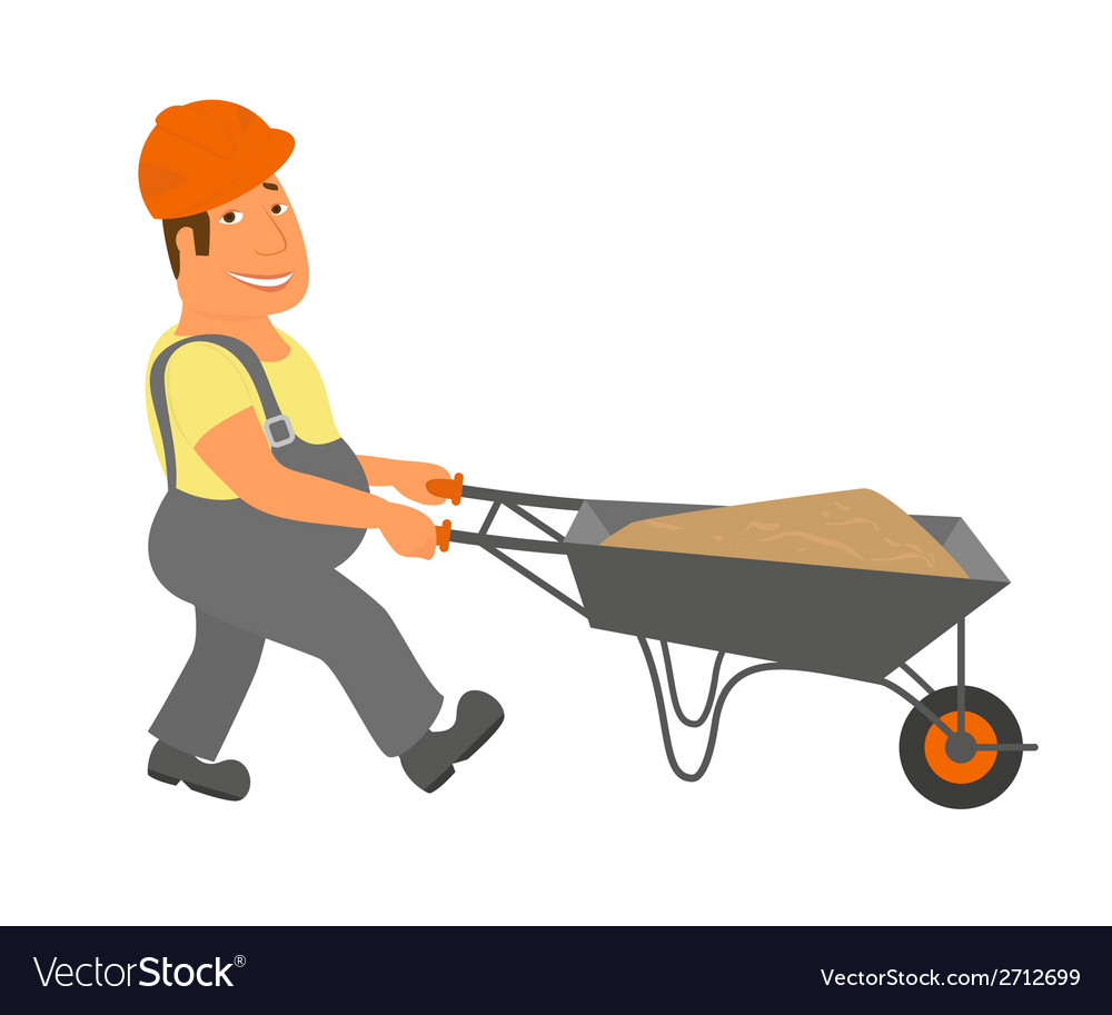 Builder with trolley is going to the project vector | Price: 1 Credit (USD $1)