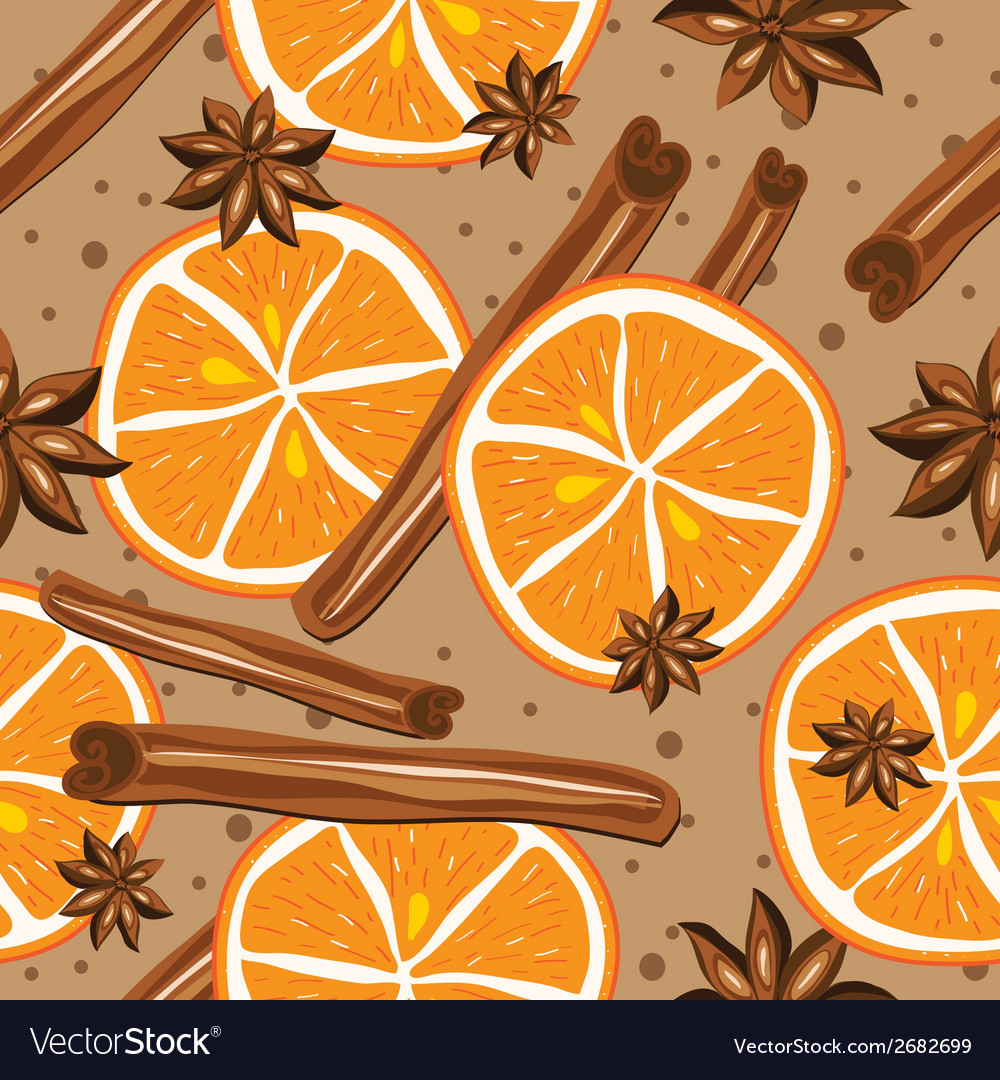 Cinnamon and oranges  kitchen background abstract vector | Price: 1 Credit (USD $1)