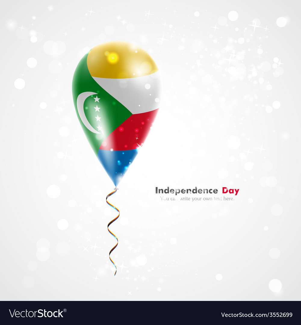 Flag of comoros on balloon vector | Price: 1 Credit (USD $1)
