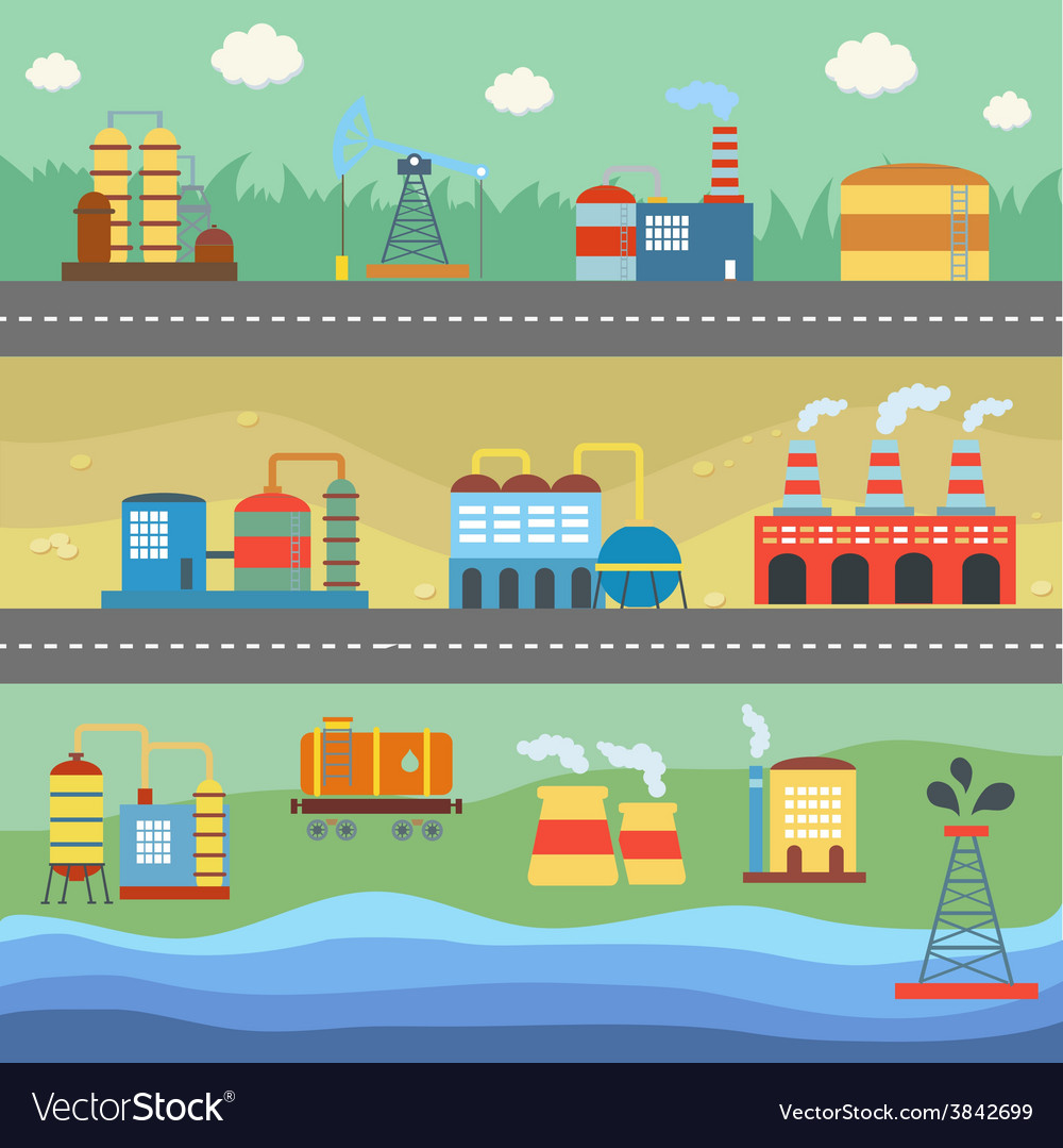 Industrial buildings factories horizontal banners vector | Price: 1 Credit (USD $1)