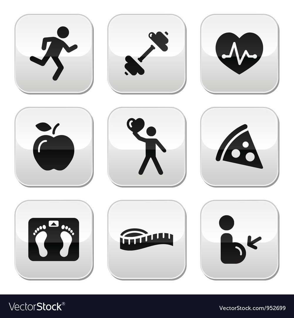 Keep fit and healthy icons on glossy buttons vector | Price: 1 Credit (USD $1)