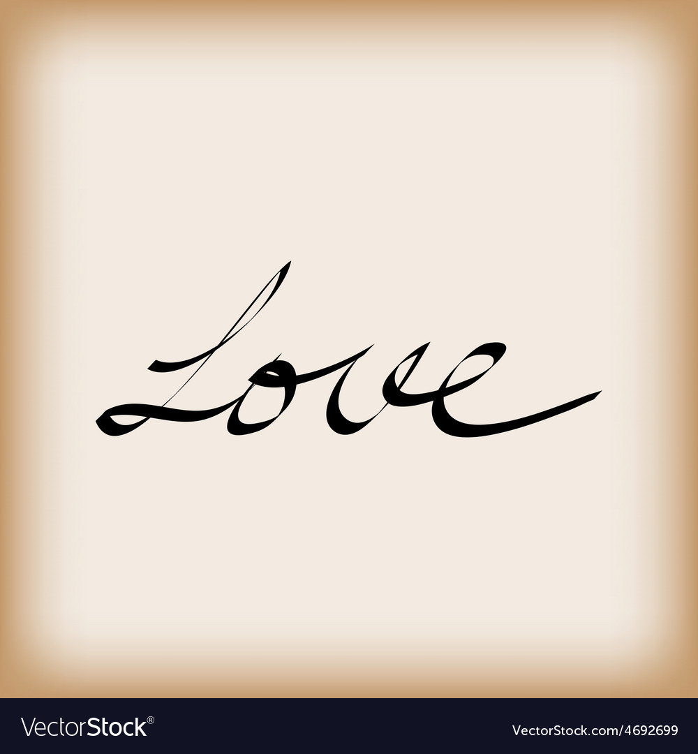 Love word on old paper vector | Price: 1 Credit (USD $1)