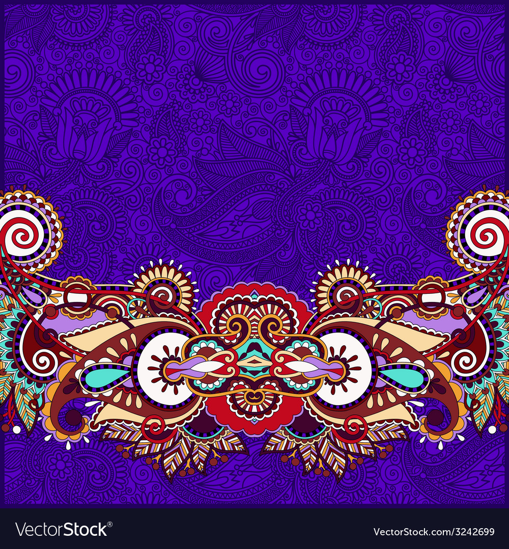 Paisley design on decorative floral violet colour vector | Price: 1 Credit (USD $1)