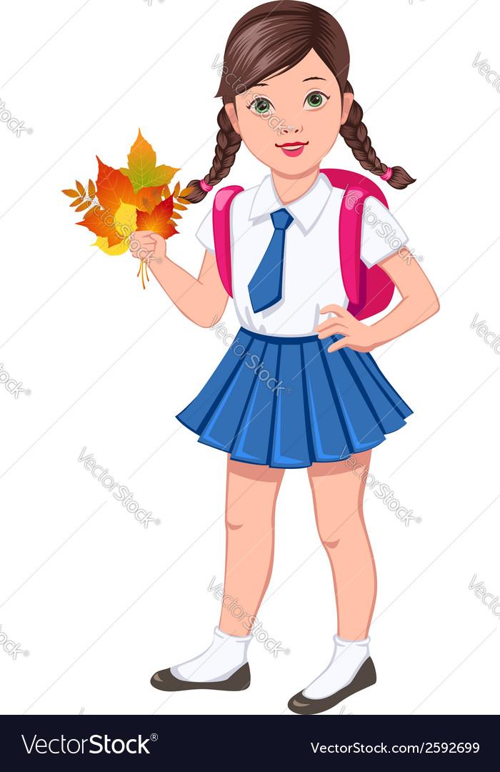 School girl brunette vector | Price: 1 Credit (USD $1)