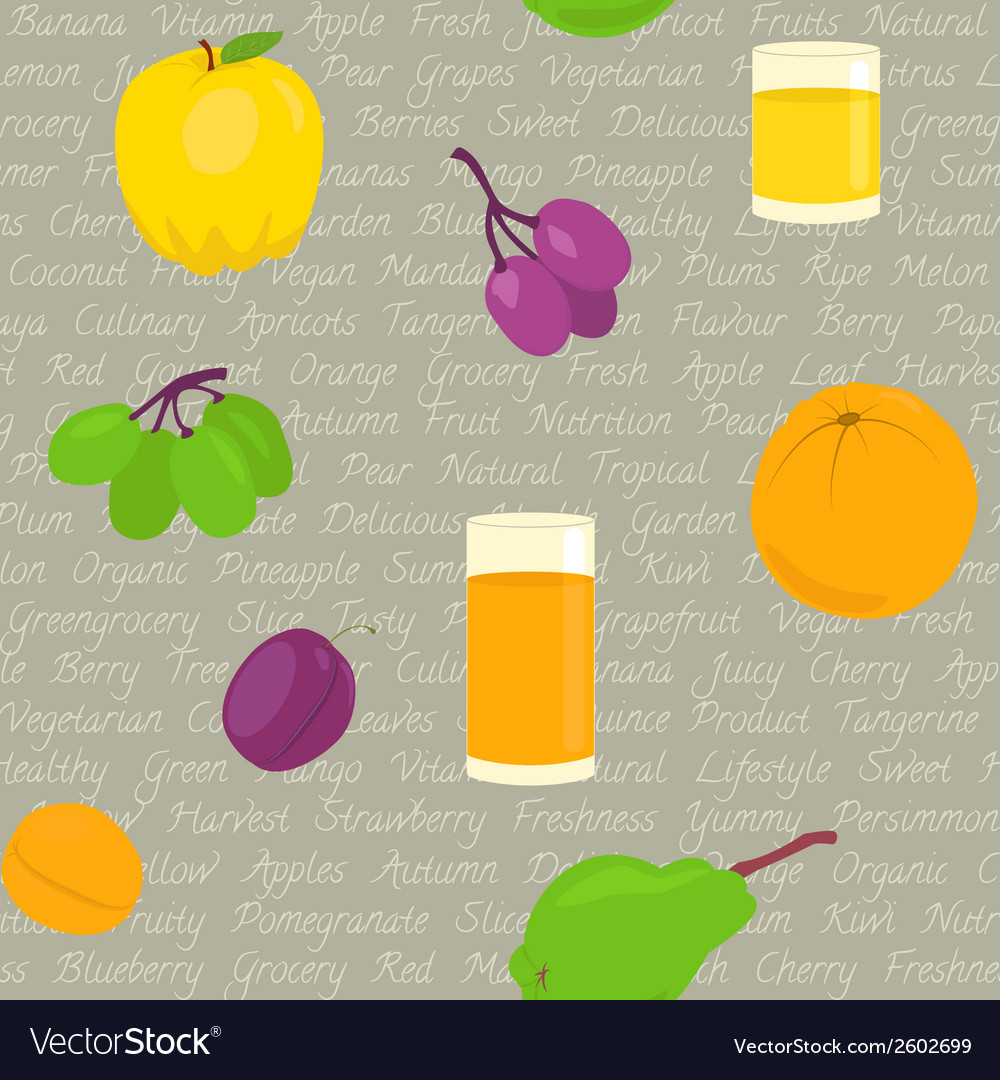 Seamless pattern with fruits and text vector | Price: 1 Credit (USD $1)