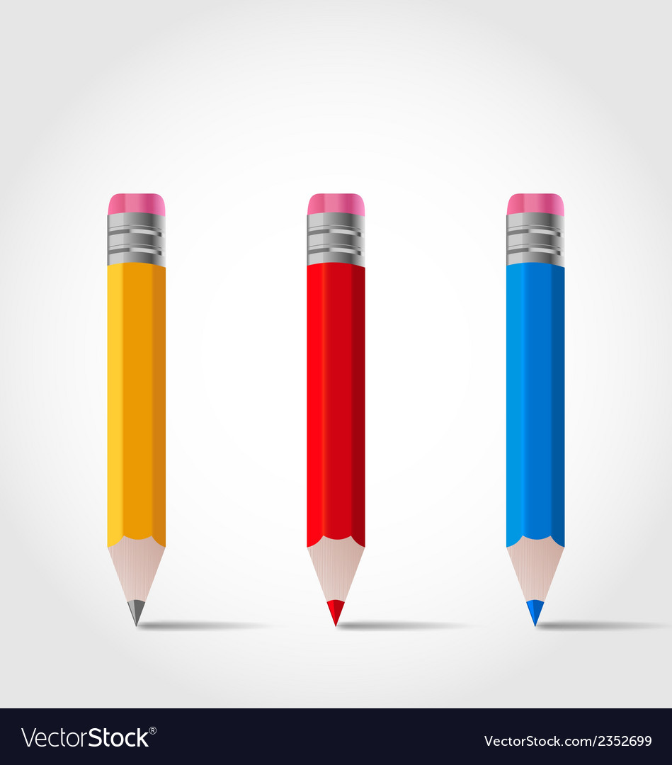 Set colorful wooden pencils with shadows vector | Price: 1 Credit (USD $1)