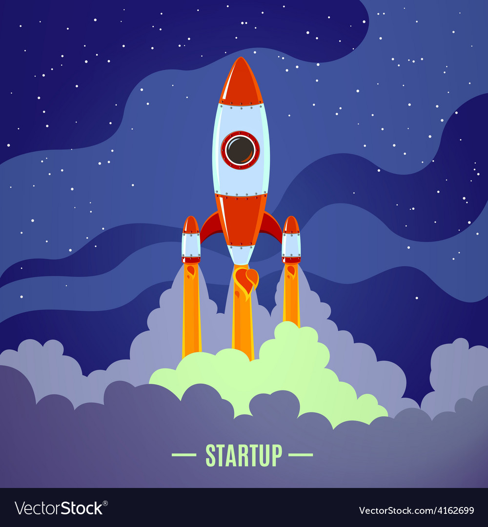 Startup rocket launch vector | Price: 1 Credit (USD $1)