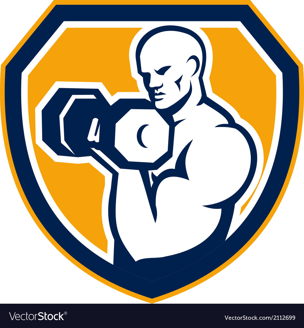 Strongman pumping dumbbells shield retro vector | Price: 1 Credit (USD $1)