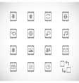 Online mobile applications iconset contour flat vector