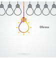 Creative light bulb difference idea concept backgr vector
