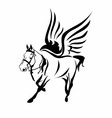 Horse-with-wings-black-and-white-horse-logo-symbol vector