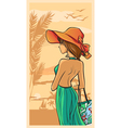 Summer and beautiful lady in green dress and hat vector