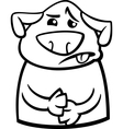 Sick dog cartoon coloring page vector