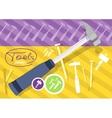 Hammer and nails hammer tool vector