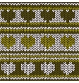 Seamless pattern with knitted hearts and stripes vector