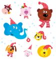 Christmas party animals vector