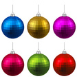 Set of textured realistic christmas balls vector